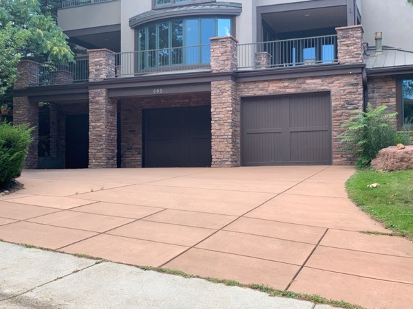 brown patterned stamped concrete